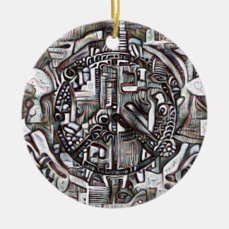 Abstract peace symbol round ceramic decoration