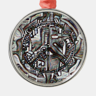 Abstract peace symbol Silver-Colored round decoration
