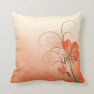 Abstract Peach and Green Floral Cushion