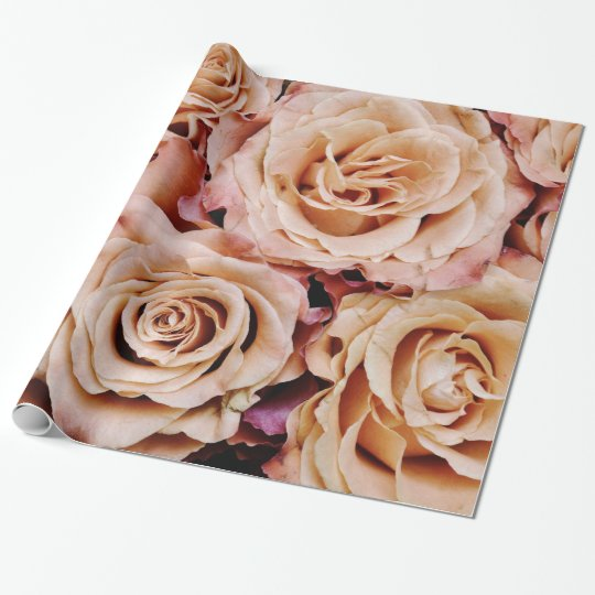 Abstract Peach Colour Roses Garden Elegant Floral Wrapping