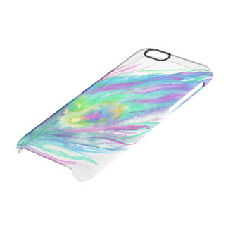 Abstract peacock feather bright watercolor paint clear iPhone 6/6S case