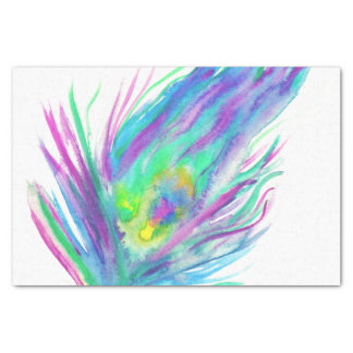 Abstract peacock feather bright watercolor paint tissue paper