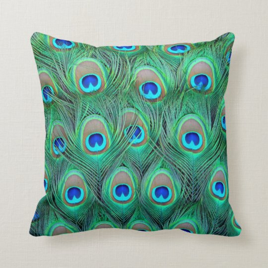 Abstract Peacock Feather Cushion Throw Pillow