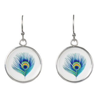 Abstract Peacock Feather Dangle Earrings
