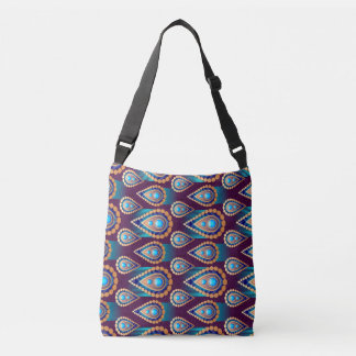 Abstract Peacock Feather Pattern Crossbody Bag