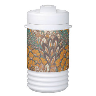 Abstract Peacock Feather Pattern Drinks Cooler