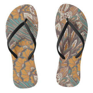 Abstract Peacock Feather Pattern Flip Flops