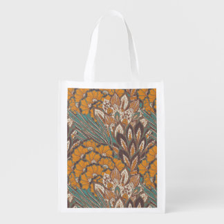 Abstract Peacock Feather Pattern Reusable Grocery Bag