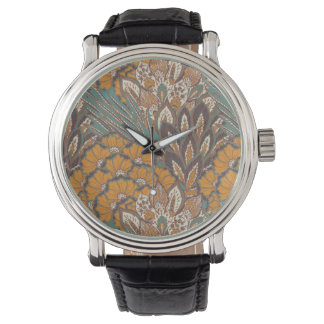 Abstract Peacock Feather Pattern Watch