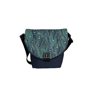 Abstract Peacock Feathers Mini Messenger  Bag Commuter Bag