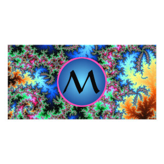 Abstract Peacock Feathers, monogrammed fractal art Custom Photo Card