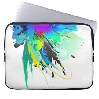 Abstract Peacock Paint Splatters Laptop Sleeve