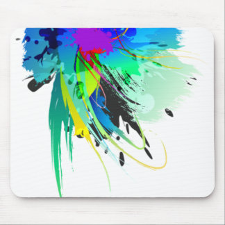 Abstract Peacock Paint Splatters Mouse Pad