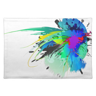 Abstract Peacock Paint Splatters Placemat