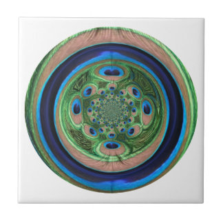 Abstract Peacock Small Square Tile