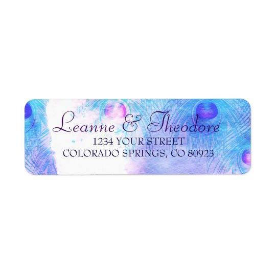 Abstract Peacock, Watercolor Address Labels