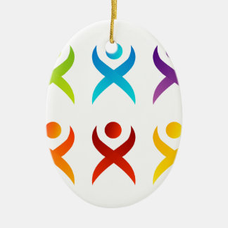 Abstract people- colorful people christmas ornament