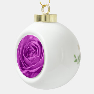 Abstract Photograph of an Orchid Colored Rose Ceramic Ball Decoration