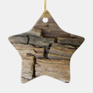 Abstract photograph of wood ceramic star decoration