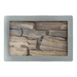 Abstract photograph of wood rectangular belt buckles