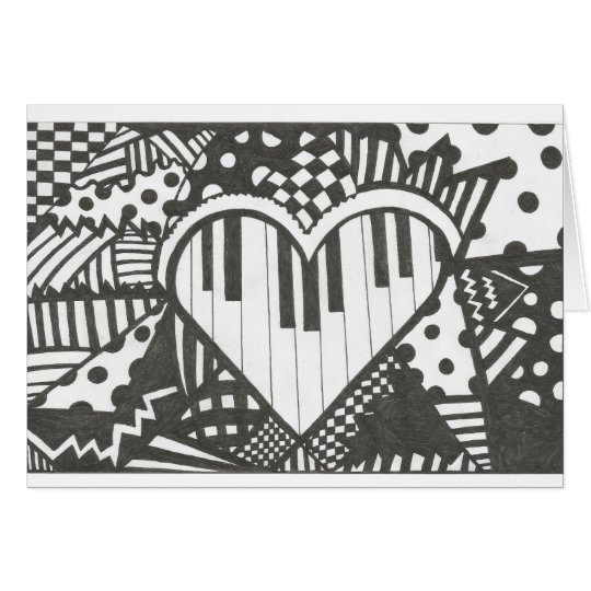 Abstract Piano Heart Card