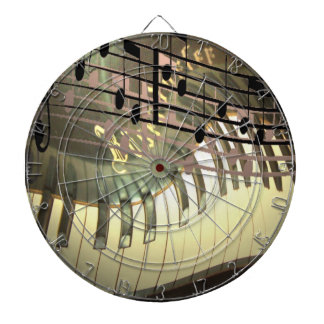 Abstract Piano Metal Cage Dartboard With Darts