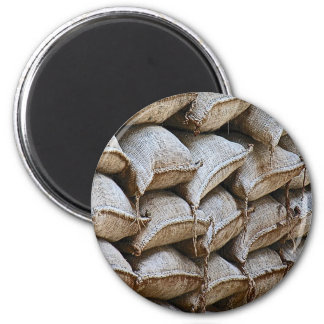 Abstract Pile of Sandbags Barrier Pattern (1) 6 Cm Round Magnet