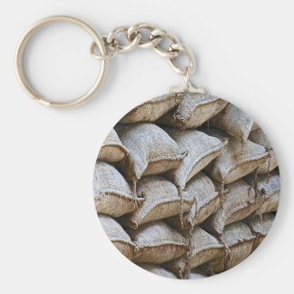 Abstract Pile of Sandbags Barrier Pattern (1) Basic Round Button Key Ring