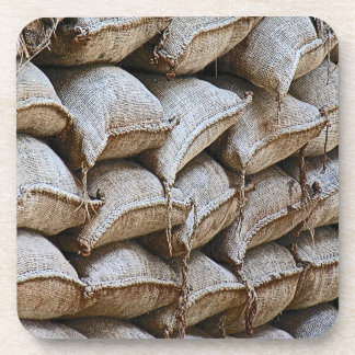 Abstract Pile of Sandbags Barrier Pattern (1) Beverage Coaster