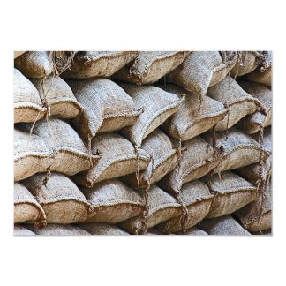 """Abstract Pile of Sandbags Barrier Pattern (1) 5"""" X 7"""" Invitation Card"""