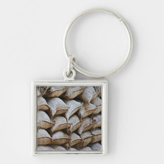 Abstract Pile of Sandbags Barrier Pattern (1) Silver-Colored Square Key Ring