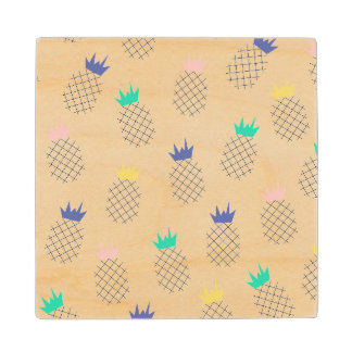 Abstract Pineapples 2 Maple Wood Coaster