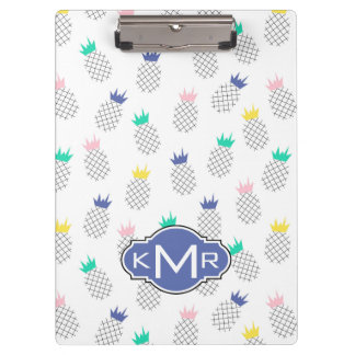Abstract Pineapples | Monogram Clipboard