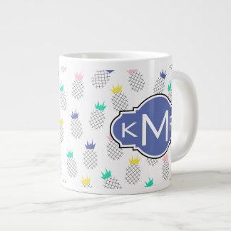 Abstract Pineapples | Monogram Large Coffee Mug