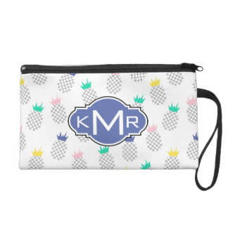 Abstract Pineapples | Monogram Wristlet Clutches
