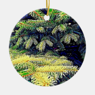 Abstract Pines Round Ceramic Decoration