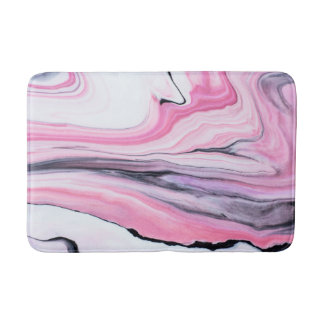 Abstract pink and black marble bath mat