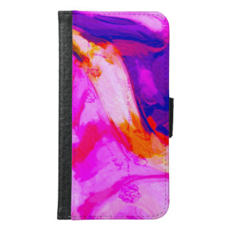 Abstract Pink and Blue Design Samsung Galaxy S6 Wallet Case