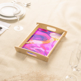 Abstract Pink and Blue Design Serving Tray