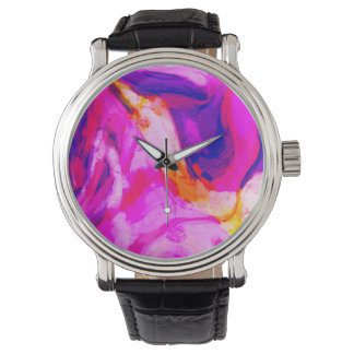 Abstract Pink and Blue Design Watch