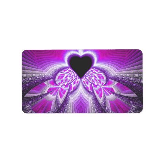 Abstract Pink And Purple Fractal Pattern Address Label