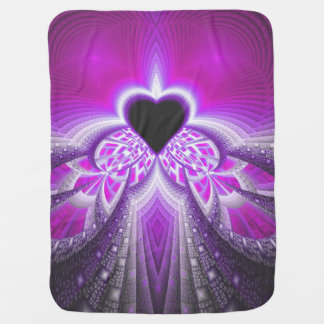Abstract Pink and Purple Fractal Pattern Buggy Blanket