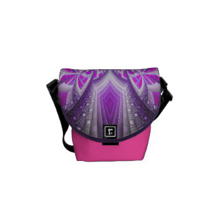 Abstract Pink and Purple Fractal Pattern Courier Bag