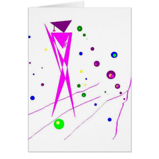 Abstract Pink and Purple Humanoid Figure Greeting Card