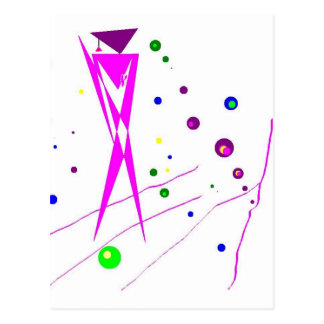 Abstract Pink and Purple Humanoid Figure Postcard