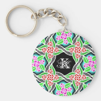 abstract pink and red rose zentangel patten basic round button key ring