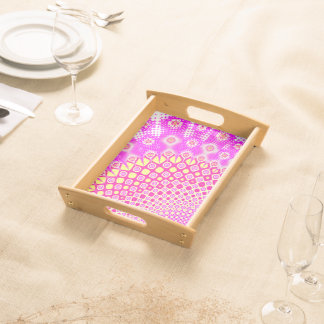Abstract Pink And White Pattern Serving Tray