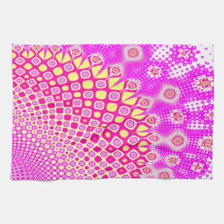 Abstract Pink And White Pattern Tea Towel