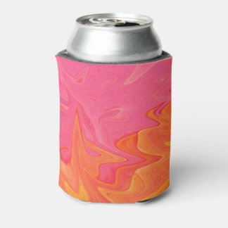 Abstract Pink and Yellow Gold Soda Can Cooler