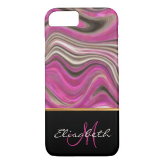 Abstract, Pink, Black Marble Name and Monogram iPhone 8/7 Case